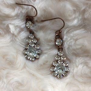 Teardrop Francesca's Rhinestone Rose Gold Earrings